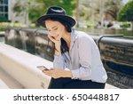 young model brunette on the... | Shutterstock . vector #650448817