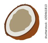 isolated cut coconut on a white ... | Shutterstock .eps vector #650461813