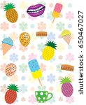 colorful summer pattern with... | Shutterstock .eps vector #650467027
