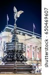 Small photo of Eros statue on Piccadilly circus in the night, London