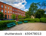 benches at park avenue median... | Shutterstock . vector #650478013