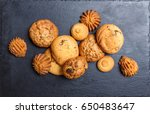 assorted cookies with chocolate ... | Shutterstock . vector #650483647