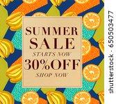 summer sale background  voucher ... | Shutterstock .eps vector #650503477