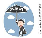 asian businessman parachuting... | Shutterstock .eps vector #650509957