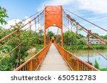 orange bridge cross the river... | Shutterstock . vector #650512783
