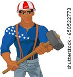 cheerful construction worker... | Shutterstock .eps vector #650522773