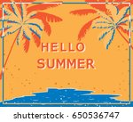 retro poster with palm trees ... | Shutterstock .eps vector #650536747