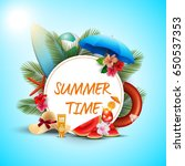 summer time banner design with... | Shutterstock . vector #650537353