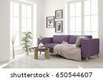 white modern room with sofa.... | Shutterstock . vector #650544607