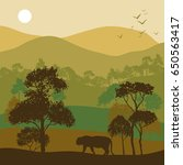 vector landscape with trees and ... | Shutterstock .eps vector #650563417
