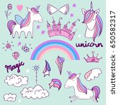 vector set with unicorns ... | Shutterstock .eps vector #650582317