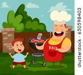 father and son are cooking a... | Shutterstock .eps vector #650598403