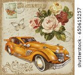 vintage postcard with retro car ... | Shutterstock . vector #650615257
