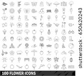 100 flower icons set in outline ... | Shutterstock .eps vector #650620243