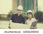 engineer man and young engineer ... | Shutterstock . vector #650634043