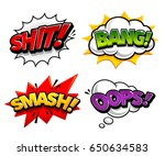 retro comic speech bubbles with ... | Shutterstock .eps vector #650634583