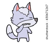 unsure wolf showing teeth   Shutterstock .eps vector #650671267