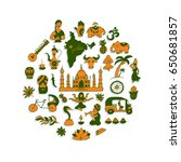 indian vector icons circle set | Shutterstock .eps vector #650681857