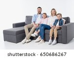 happy family with two children... | Shutterstock . vector #650686267