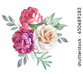 watercolor flowers bouquet with ... | Shutterstock . vector #650689183