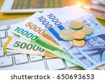 south korean won currency and...   Shutterstock . vector #650693653