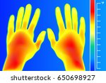 thermal imager human hands and... | Shutterstock .eps vector #650698927