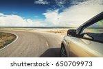 road trip car on the beach ... | Shutterstock . vector #650709973