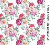 watercolor roses background | Shutterstock . vector #650714077