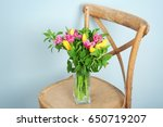 vase with bouquet of beautiful... | Shutterstock . vector #650719207