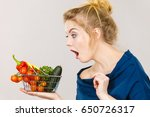 adult woman do not like to eat... | Shutterstock . vector #650726317