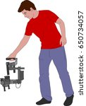 videographer with handheld... | Shutterstock .eps vector #650734057