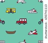 transportation theme seamless... | Shutterstock .eps vector #650741113