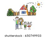 kids drawing happy family... | Shutterstock . vector #650749933