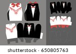 bride and groom paper... | Shutterstock .eps vector #650805763