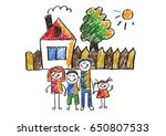 kids drawing happy family... | Shutterstock . vector #650807533