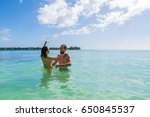 tourist couple in tropical... | Shutterstock . vector #650845537