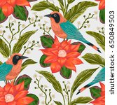 seamless pattern with tropical... | Shutterstock .eps vector #650849503