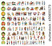 set of happy family  people ... | Shutterstock .eps vector #650855173