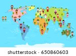 World Map And Kids Of Various...