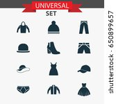 clothes icons set. collection... | Shutterstock .eps vector #650899657