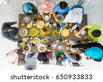 family together eating food top ... | Shutterstock . vector #650933833