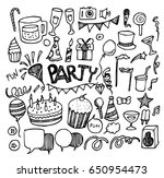 party doodle sketch vector ink | Shutterstock .eps vector #650954473