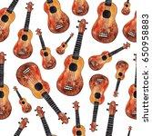 seamless pattern with ukulele.... | Shutterstock . vector #650958883