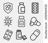 pill icons set. set of 9 pill... | Shutterstock .eps vector #650964433