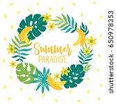 summer wreath with banana ... | Shutterstock .eps vector #650978353