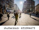 silhouette of people walking on ... | Shutterstock . vector #651006673