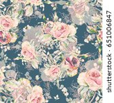 seamless rose pattern and... | Shutterstock . vector #651006847