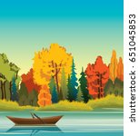 autumn vector landscape. wooden ... | Shutterstock .eps vector #651045853