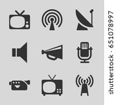 broadcast icons set. set of 9... | Shutterstock .eps vector #651078997