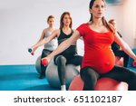 pregnant women in a row sitting ... | Shutterstock . vector #651102187